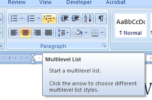 how to create multi-level headings word